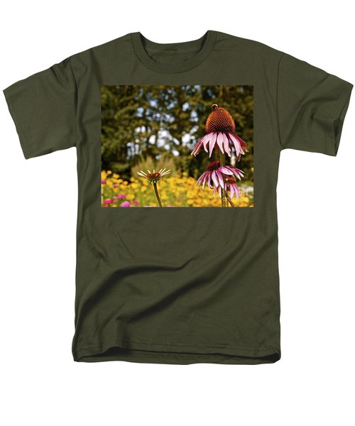 Men's T-Shirt  (Regular Fit) featuring the photograph Echinacea With Bee by Linda Bianic