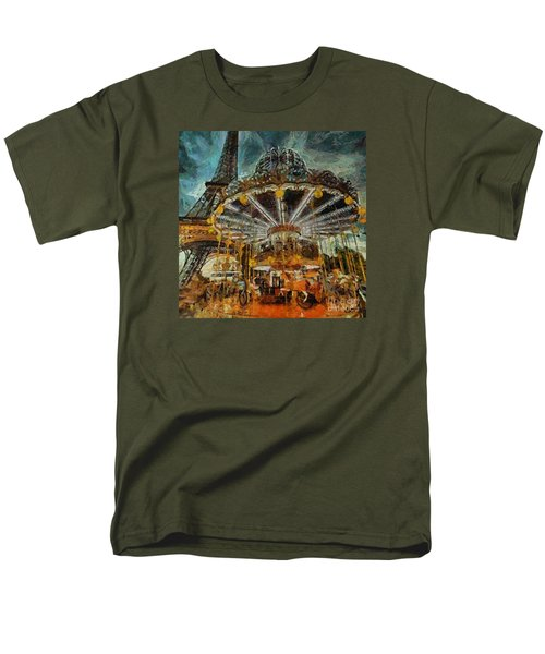 Men's T-Shirt  (Regular Fit) featuring the painting Eiffel Tower Carousel by Dragica  Micki Fortuna