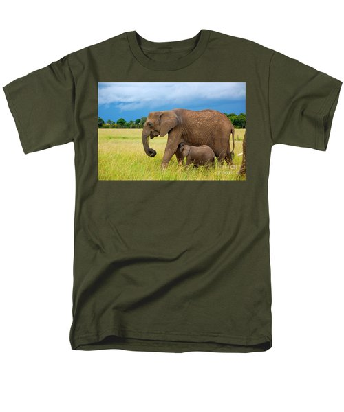 Elephants In Masai Mara Men's T-Shirt  (Regular Fit) by Charuhas Images