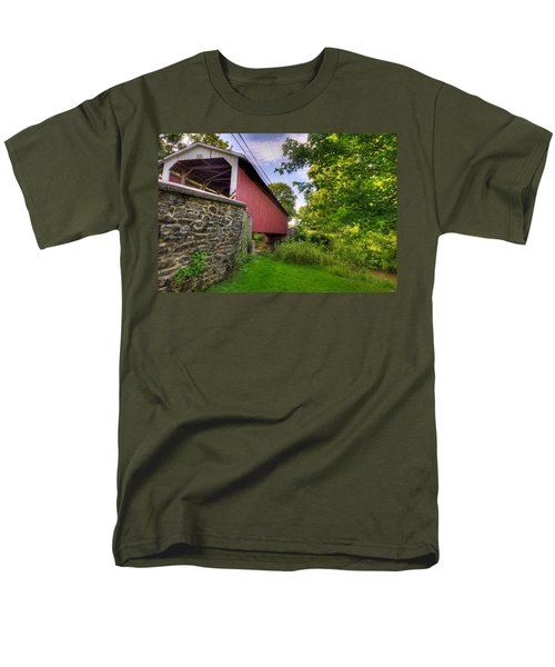 Men's T-Shirt  (Regular Fit) featuring the photograph Eshelman's Mill Covered Bridge by Jim Thompson