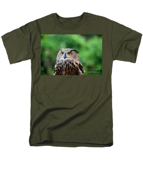 Eurasian Or European Eagle Owl Bubo Bubo Stares Intently Men's T-Shirt  (Regular Fit) by Imran Ahmed