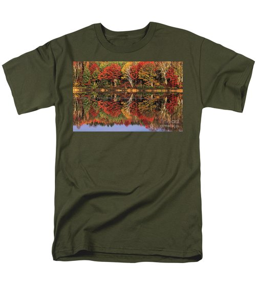 Men's T-Shirt  (Regular Fit) featuring the photograph Fall Color Reflected In Thornton Lake Michigan by Dave Welling