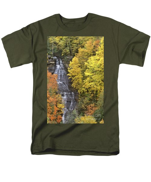 Men's T-Shirt  (Regular Fit) featuring the photograph Fall Color Surrounds Chapel Falls On The Michigan Upper Peninsula by Dave Welling
