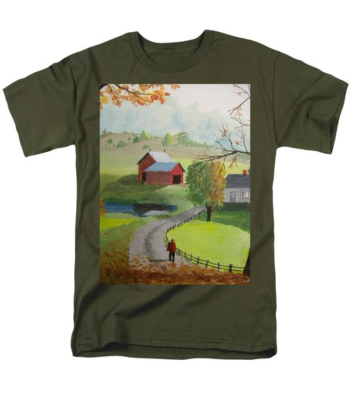 Men's T-Shirt  (Regular Fit) featuring the painting Fall Walk by Norm Starks