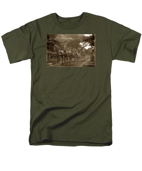 Family Out Carriage Ride On The 17 Mile Drive In Pebble Beach Circa 1895 Men's T-Shirt  (Regular Fit) by California Views Mr Pat Hathaway Archives
