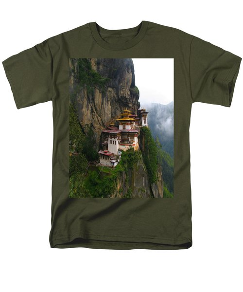 Famous Tigers Nest Monastery Of Bhutan Men's T-Shirt  (Regular Fit) by Lanjee Chee
