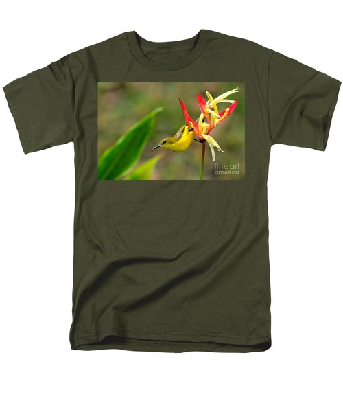Female Olive Backed Sunbird Clings To Heliconia Plant Flower Singapore Men's T-Shirt  (Regular Fit) by Imran Ahmed