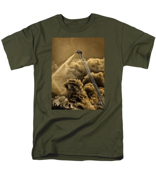 Firefighter-heat Of The Battle Men's T-Shirt  (Regular Fit) by David Millenheft
