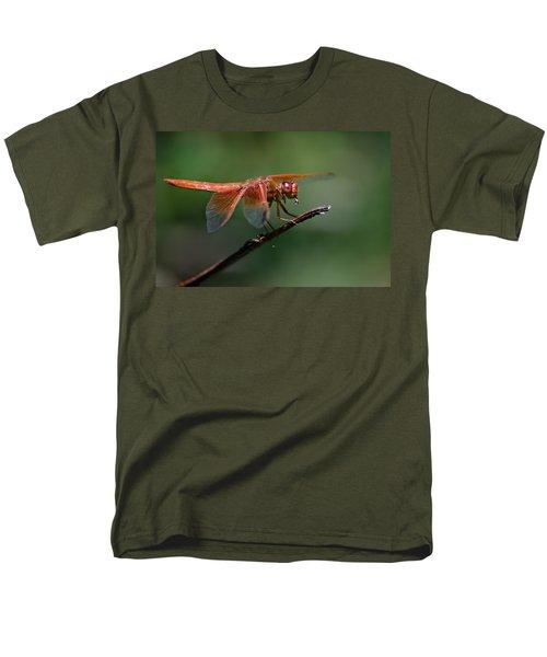 Flame Skimmer Dragonfly Men's T-Shirt  (Regular Fit) by Linda Villers