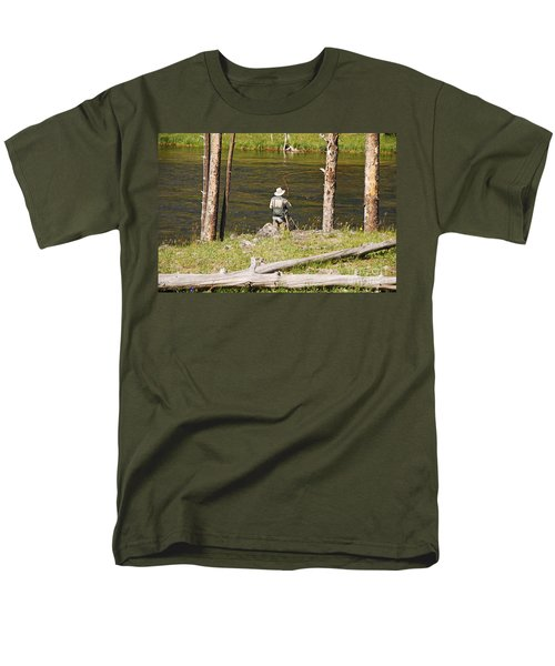 Men's T-Shirt  (Regular Fit) featuring the photograph Fly Fishing by Mary Carol Story