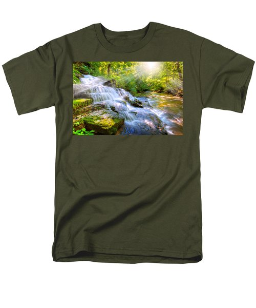 Forest Stream And Waterfall Men's T-Shirt  (Regular Fit) by Alexey Stiop