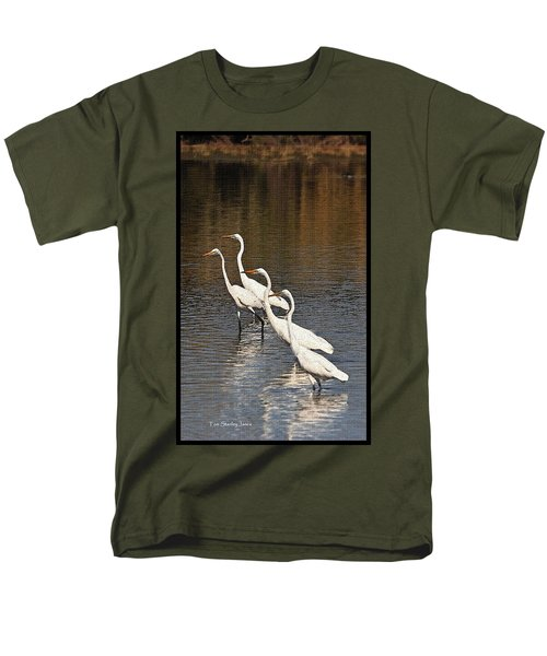 Men's T-Shirt  (Regular Fit) featuring the photograph Four Egrets Fishing by Tom Janca