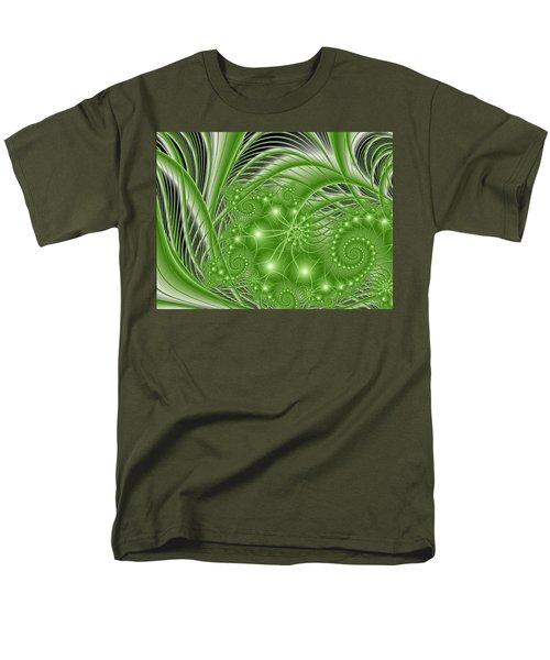 Fractal Abstract Green Nature Men's T-Shirt  (Regular Fit) by Gabiw Art