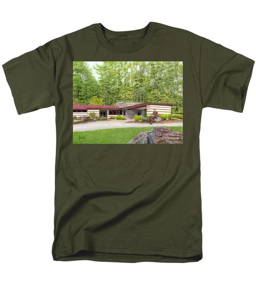 Men's T-Shirt  (Regular Fit) featuring the painting Frank Lloyd Wright At Duncan House by Albert Puskaric