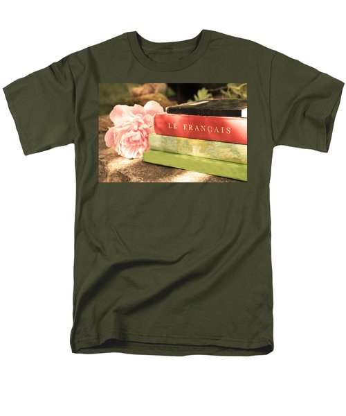 Men's T-Shirt  (Regular Fit) featuring the photograph French Books And Peony by Brooke T Ryan