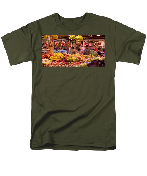 Fruits At Market Stalls, La Boqueria Men's T-Shirt  (Regular Fit) by Panoramic Images