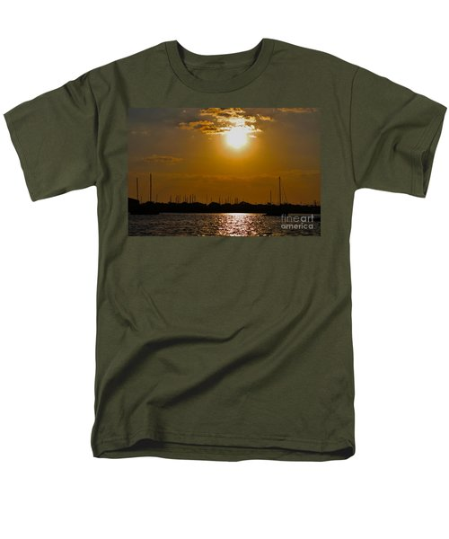 Men's T-Shirt  (Regular Fit) featuring the photograph Ft. Pierce Florida Docks At Dusk by Janice Rae Pariza