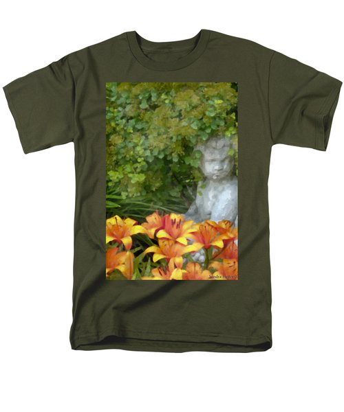 Men's T-Shirt  (Regular Fit) featuring the photograph Garden Girl And Orange Lilies Digital Watercolor by Sandra Foster