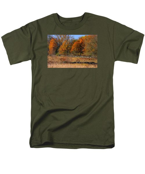 Men's T-Shirt  (Regular Fit) featuring the photograph Gettysburg At Rest - Autumn Looking Towards The J. Weikert Farm by Michael Mazaika