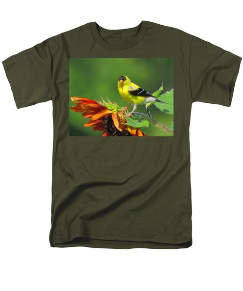 Goldfinch Pose Men's T-Shirt  (Regular Fit) by Dianne Cowen