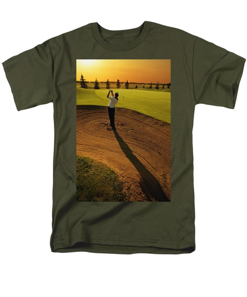 Golfer Taking A Swing From A Golf Bunker Men's T-Shirt  (Regular Fit) by Darren Greenwood