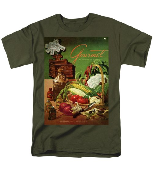 Gourmet Cover Featuring A Variety Of Vegetables Men's T-Shirt  (Regular Fit) by Henry Stahlhut