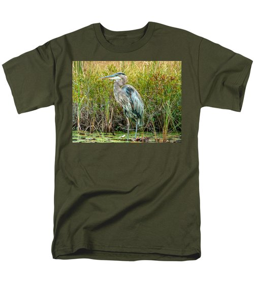 Great Blue Heron Waiting For Supper Men's T-Shirt  (Regular Fit) by Eti Reid