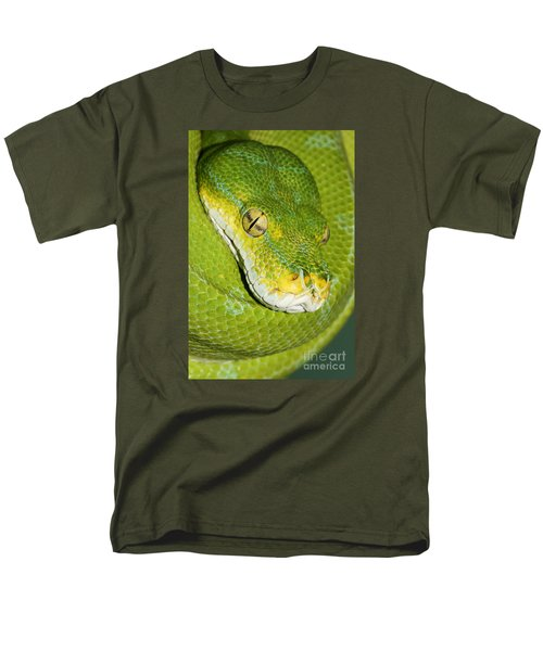 Men's T-Shirt  (Regular Fit) featuring the photograph Green Tree Python #2 by Judy Whitton