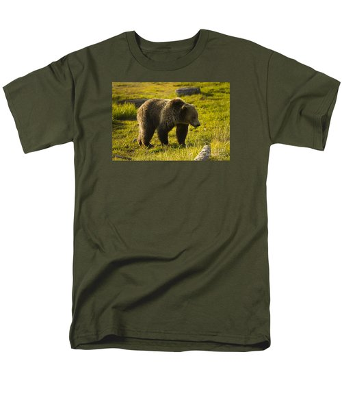 Grizzly Bear-signed-#4477 Men's T-Shirt  (Regular Fit) by J L Woody Wooden