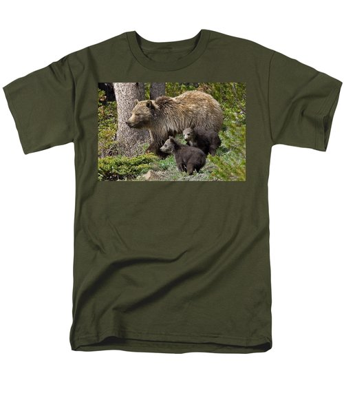Grizzly Bear With Cubs Men's T-Shirt  (Regular Fit) by Jack Bell