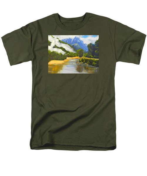 Men's T-Shirt  (Regular Fit) featuring the painting Haast River New Zealand by Pamela  Meredith