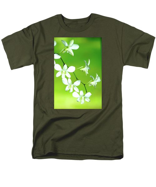 Men's T-Shirt  (Regular Fit) featuring the photograph Hanging White Orchids by Lehua Pekelo-Stearns