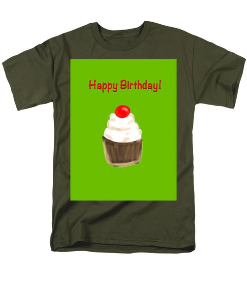 Men's T-Shirt  (Regular Fit) featuring the digital art Happy Bday W A Cherry On Top by Christine Fournier