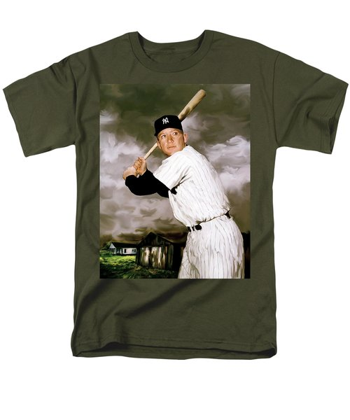 American Fabric   Mickey Mantle Men's T-Shirt  (Regular Fit) by Iconic Images Art Gallery David Pucciarelli