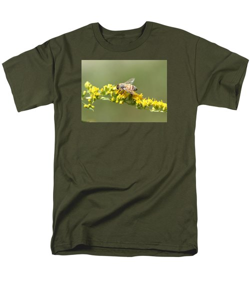 Honeybee On Goldenrod Twig Men's T-Shirt  (Regular Fit) by Lucinda VanVleck