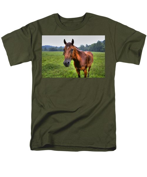 Men's T-Shirt  (Regular Fit) featuring the photograph Horse In A Field by Jonny D