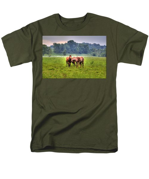 Men's T-Shirt  (Regular Fit) featuring the photograph Horses Socialize by Jonny D