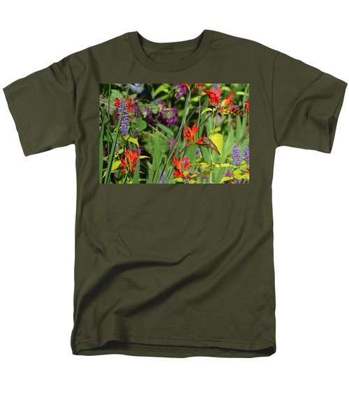 Hummingbird And Crocosmia Lucifer Men's T-Shirt  (Regular Fit) by Michelle Calkins