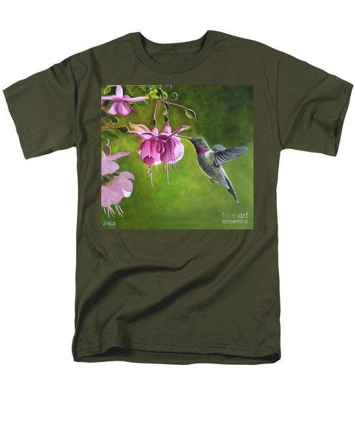 Hummingbird And Fuschia Men's T-Shirt  (Regular Fit) by Debbie Hart