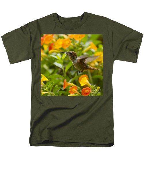 Hummingbird Looking For Food Men's T-Shirt  (Regular Fit) by Heiko Koehrer-Wagner