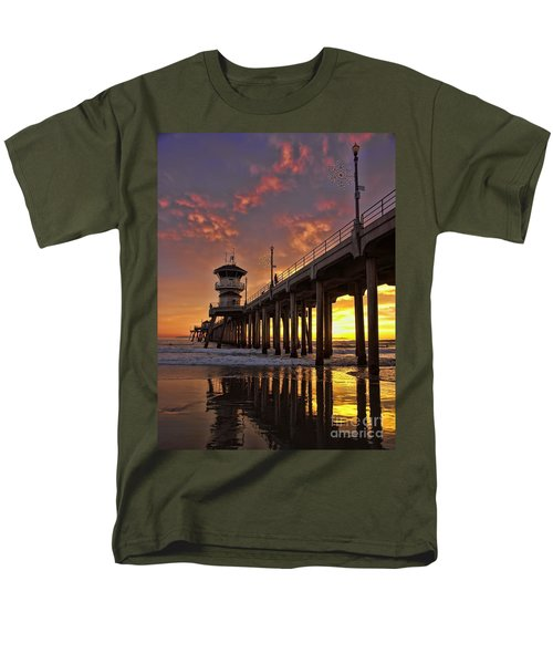 Men's T-Shirt  (Regular Fit) featuring the photograph Huntington Beach Pier by Peggy Hughes