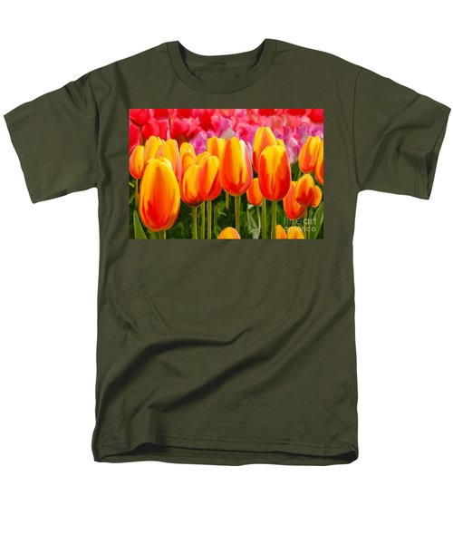 Men's T-Shirt  (Regular Fit) featuring the painting Hybrid Tulips by Tim Gilliland