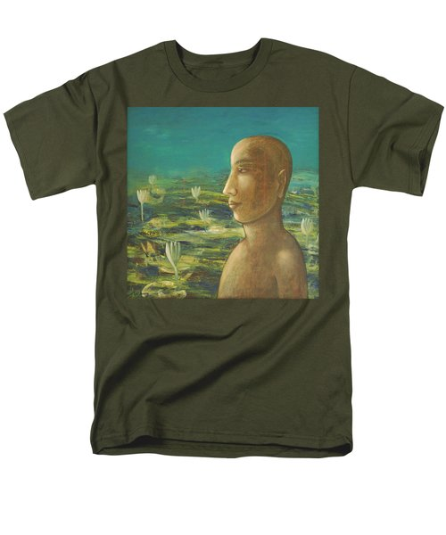 Men's T-Shirt  (Regular Fit) featuring the painting In The Realm Of Buddha by Mini Arora