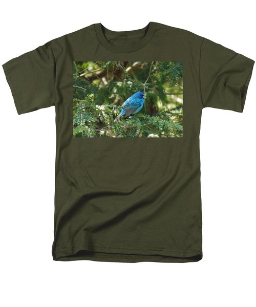 Indigo Bunting Visit Men's T-Shirt  (Regular Fit) by Brenda Brown