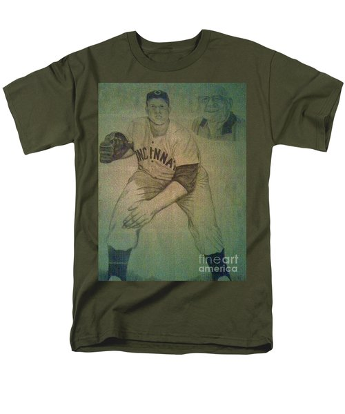 Men's T-Shirt  (Regular Fit) featuring the drawing Joe Nuxhall by Christy Saunders Church