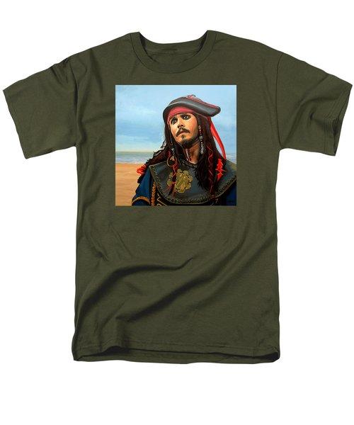 Johnny Depp As Jack Sparrow Men's T-Shirt  (Regular Fit) by Paul Meijering