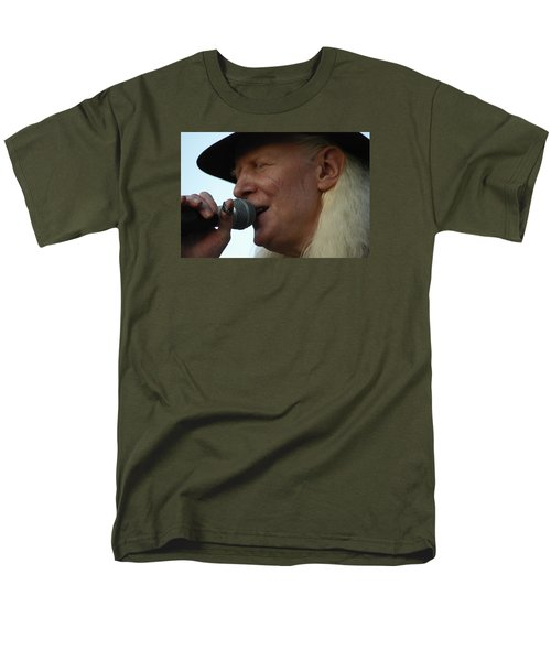 Men's T-Shirt  (Regular Fit) featuring the photograph Johnny Winter Sings by Mike Martin