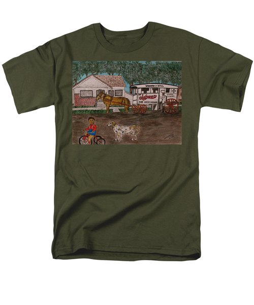 Men's T-Shirt  (Regular Fit) featuring the painting Johnsons Milk Wagon Pulled By A Horse  by Kathy Marrs Chandler