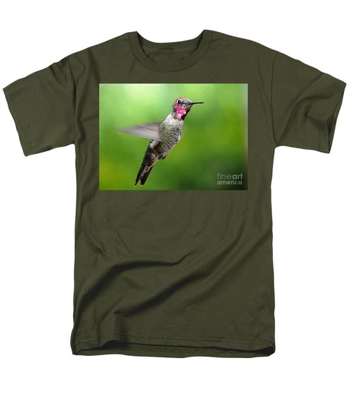 Men's T-Shirt  (Regular Fit) featuring the photograph Juvenile Male Anna's In Flight by Jay Milo