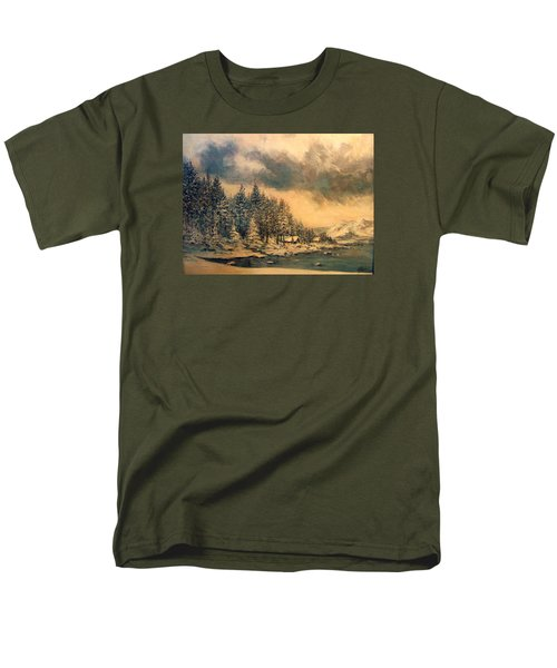 Men's T-Shirt  (Regular Fit) featuring the painting Lake Tahoe Winter Colors 2 by Donna Tucker